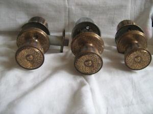 3 Sets Antique Copper Coloured Door Knobs--$9 set