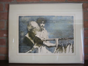 """Framed lithograph """"Fashion People"""""""