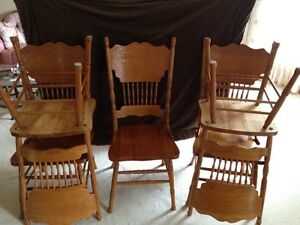 Six solid wood dining chairs