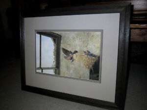 "BARN SWALLOWS NESTING ON STONE WALL""–BEVERLY SPICER-LIMITED EDIT"