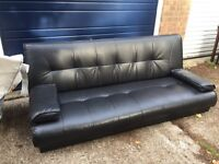 Black leather sofa bed - delivery available