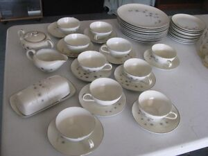 DINNER SET OF CHINA 8 PLACE SETTING + CREAM SUGAR BUTTER