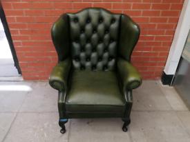 A Green Leather Chesterfield Queen Ann Arm Chair