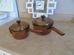Pair of Corning Visions Amber Glass Cooking Pots