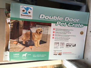 Large Double Door Dog Crate with Divider-new in box