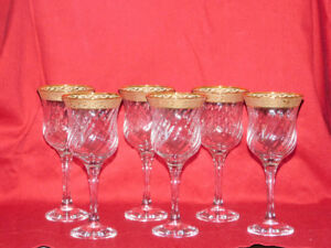 Cristal Mode Gold rimmed Wine/ water glasses