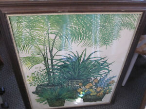 Vintage Framed Ida Pellei Floral Lithograph Mid Century Print