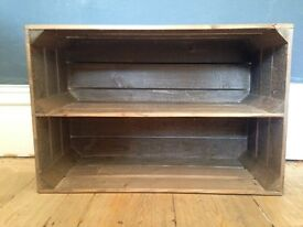 Wooden crate with shelf