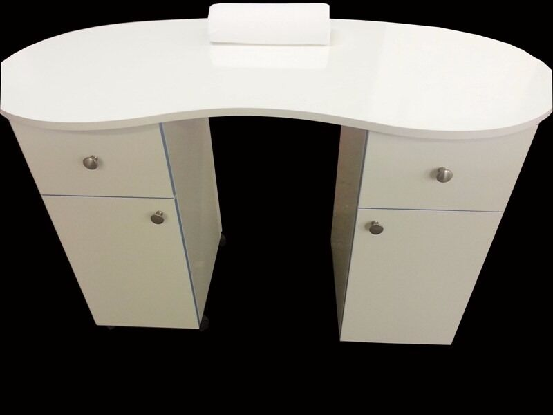 White High Gloss Manicure Technicians Table Station Nail Bar/Ref ...