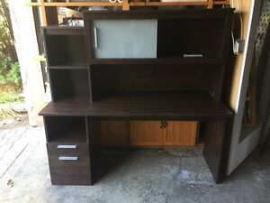Modern Style Darkwood 5FT Desk With Top Hutch