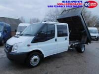 FORD TRANSIT 2.2TDCI DOUBLE CAB TIPPER WITH NO REAR SEATS AND STORAGE SHELVES