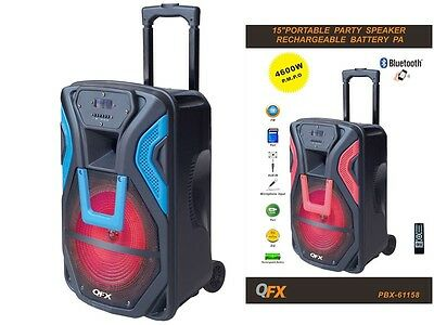 "QFX PBX-61158 15"" Portable/Rechargeable PA Speaker +Bluetooth +USB/SD/FM +LED for sale  Shipping to Nigeria"