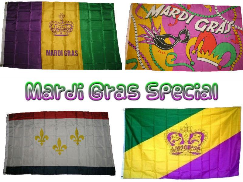 3x5 Mardi Gras Special  Flag 3'x5' Gift Set
