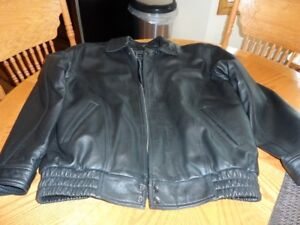 beautiful black  men's leather jacket w/ removeable inner liner