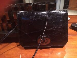 Small Black Leather Organizer Bag For Sale