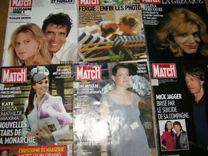Ensemble de 6 Revue Paris Match - 5$ pour le lot de 6
