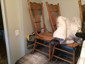 4 antique hand made spindle back chairs and  table