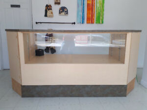 Display counter - wood and glass