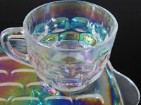 iridescent glass, carnival glass, tea and sandwich plate sets,