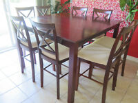 Pub style dining table and 8 chairs