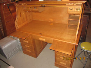 Large oak roll top desk for computer