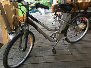 Two identical Schwinn bicycles with motors