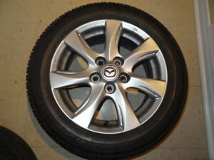 4 MAZDA MAGS 5X114.3 PERFECT CONDITION 205 55 16 TIRES LIKE NEW