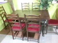 Ercol Extendable Dining Table & Set Of 6 Chairs For Re-Upholstery- Can Deliver For £19