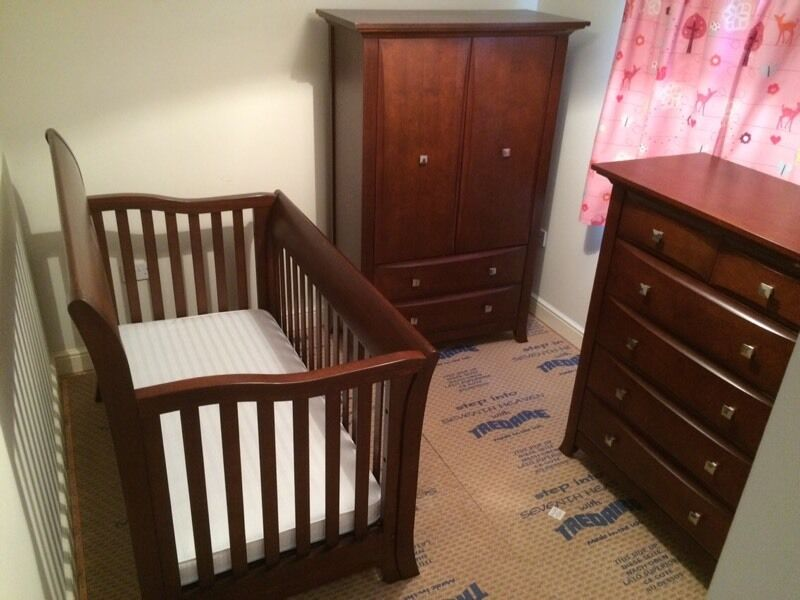 Solid Dark Wood Nursery Furniture Set By Bonavita