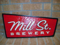 MILL ST. BREWERY  WOOD SIGN.