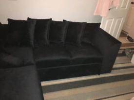 Brand new black velvet sofa
