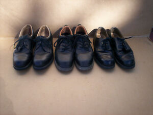 3 Pairs Of Men's Steel Toe Shoes, Size 9.