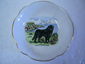 BOWL WITH NEWFOUNDLAND DOG AND SCENE