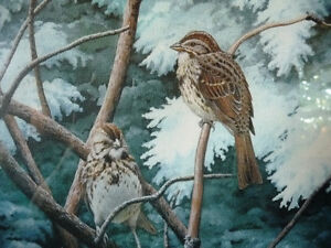 """Hand Signed, Numbered Lithograph by Peter Miehm """"Finches"""" 1981 Stratford Kitchener Area image 3"""