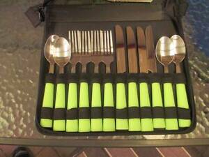 Brand new stainless steel cutlery set enclosed zip case Woodcroft Morphett Vale Area Preview