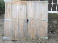 "Solid wood double garage/ out house doors 7'x 6'6"" (2mx2m)"