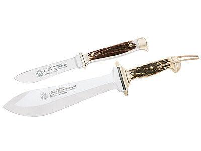 PUMA WAIDBESTECK SET HUNTING KNIFE / WAIDBLATT + NICKER / STAG *LEATHER + BOX*
