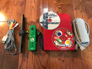 Red Nintendo Wii - Mario Bros Edition with MotionPlus controller