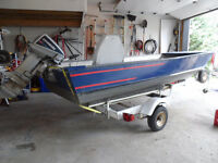 14' Aluminum Fishing Boat, With 9.9 Evinrude + Bunk Trailer !!