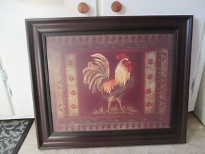 Beautiful framed rooster picture in like new condition Peterborough Peterborough Area image 1