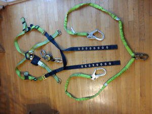 Safety harness very rarely used  Double lanyard Retractable lany