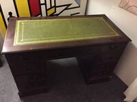 Regency leather dark wood office computer desk table draws