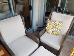 patio chairs and ottoman