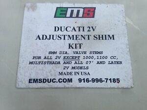 EMS shim kit for 2v Ducati and Stock ECU for an M900