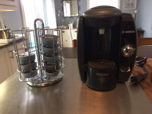 Tassimo coffee maker and cup holder