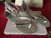 NEW - size 6 silver multi coloured bead detail sandals