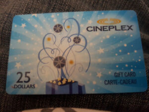 CINEPLEX  $25 GIFT CARD FOR  $15
