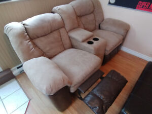 Reclining Microsuede Leather Couch