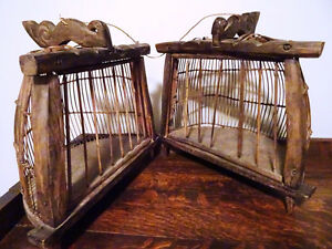 "Lombok Island Indonesia DOUBLE Bird Cage 12.75""h WHIMSY"