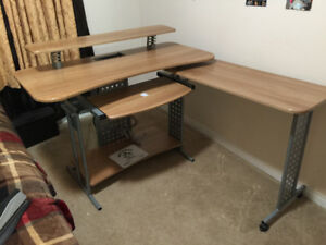 Wooden Study Table with Power Outlet & Comfortable Office Chair